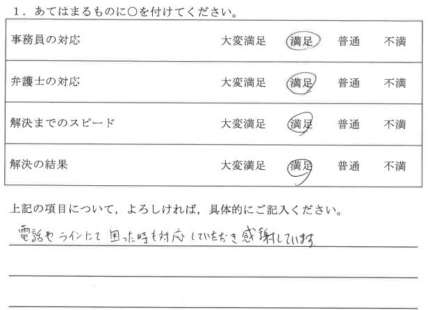 名古屋市30代男性の依頼者様の声 : 電話やラインにて困った時も対応していただき感謝しています。